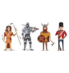 Warrior knight with sword and viking soldier vector image