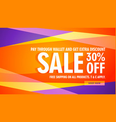 bright color sale discount banner template vector image