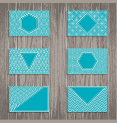 business greeting or gift cards on wooden vector image