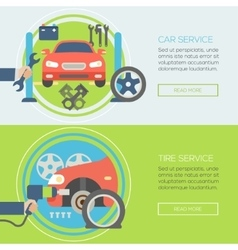 car service flat icons Concepts for web banners vector image