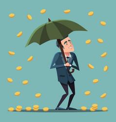 cartoon businessman with umbrella under money rain vector image