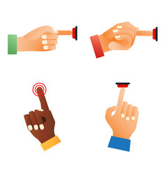 Hand press red button finger press control push vector