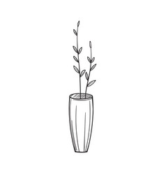 simple vase with twigs in the sketch style vector image vector image