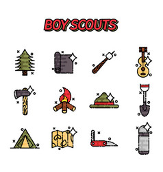 boy scouts flat concept icons vector image vector image