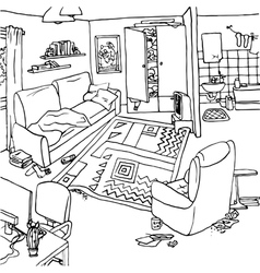 Interior with clutter vector image vector image