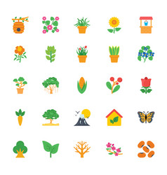 nature and ecology flat colored icons 1 vector image