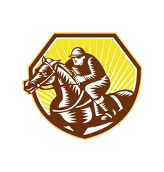 Thoroughbred horse racing woodcut retro vector