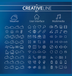 weather user interface and multimedia icons vector image