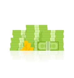 big pile of money heap of cash flat cartoon style vector image vector image