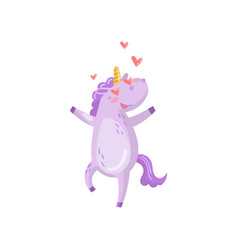 cute unicorn character in love with hearts in its vector image