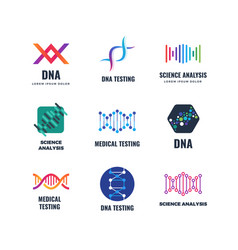 dna code biotech science genetics logo vector image vector image
