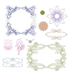 Set of colorful design elements Doodle hand drawn vector image vector image