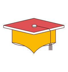 silhouette color sections of graduation cap vector image vector image
