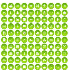 100 autumn holidays icons set green circle vector