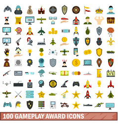 100 gameplay award icons set flat style vector
