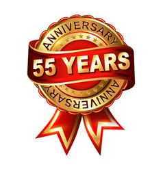 55 years anniversary golden label with ribbon vector image