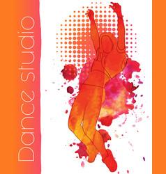 a dancing girl with watercolor blots vector image