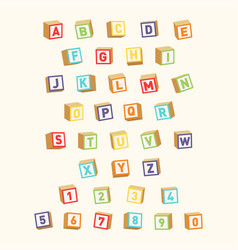 Alphabet with numbers childish font colorful toy vector