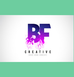 bf b f purple letter logo design with liquid vector image