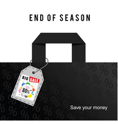 Big sale end of season on bag in colorful vector