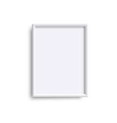 blank vertical picture frame realistic white vector image