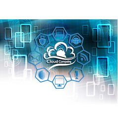 Blue background with computer cloud vector
