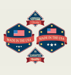 Blue icon with usa flag set vector