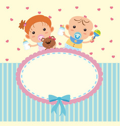 Border template with cute boy and girl vector