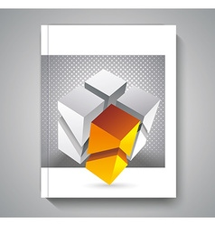 brochure template design with 3d cubes elements vector image