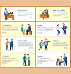 business and work boss and employees web posters vector image