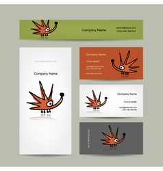 Business cards design with funny hedgehog vector
