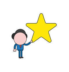 Businessman character holding star color and vector