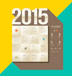 Calendar 2015 origami paper square design vector