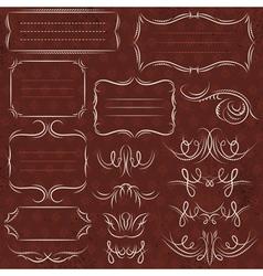 Calligraphy decorative borders ornamental rules vector