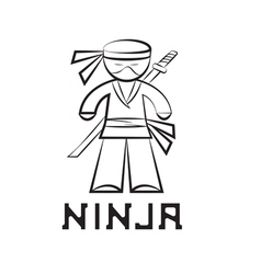 cartoon ninja young man design vector image