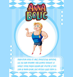 Character game card template with word anna bolic vector