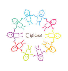 children holding hands vector image