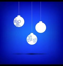 Christmas ball white on blue vector image
