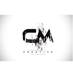 Cm c m grunge brush letter logo design in black vector