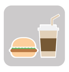 coffee and burger fast food old background - vector image