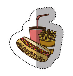 Color hot dog soda and fries french icon vector