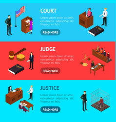 court session concept banner horizontal set 3d vector image