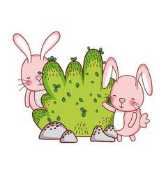 Cute animals rabbits bush nature botanical vector