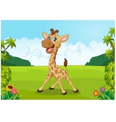 Cute giraffe cartoon with beautiful landscape vector