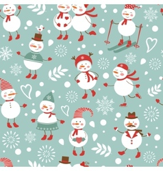 Cute snowmen seamless pattern vector