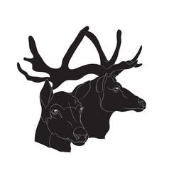 Deer portrait silhouette vector
