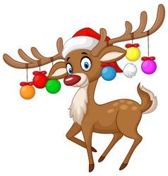 Deer with Christmas ball vector