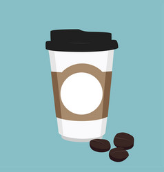 Disposable coffee cup icon with coffee beans on vector