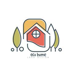 Eco home logo design ecologic home sign with vector