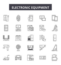 electronics line icons signs set outline vector image